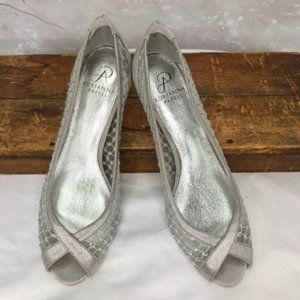 Adrianna Papell Jamie Silver Jeweled Mesh Shoes 9